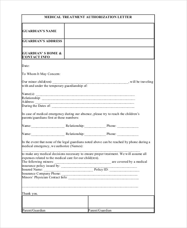 7+ Sample Medical Authorization Letters Sample Templates