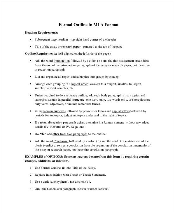 Sample MLA Outline - 6+ Documents in PDF, Word