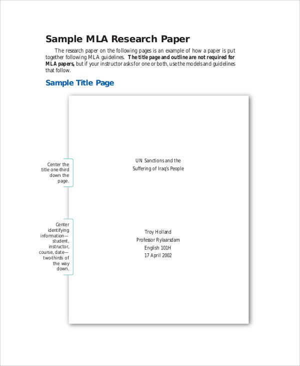 7+ MLA Outline Samples Sample Templates