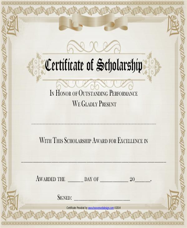 Sample Award Certificate - 5+ Documents in PDF, WORD - sample scholarship certificate