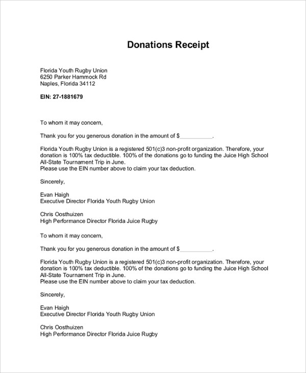 8+ Sample Donation Receipt Letters Sample Templates - donation receipt letter