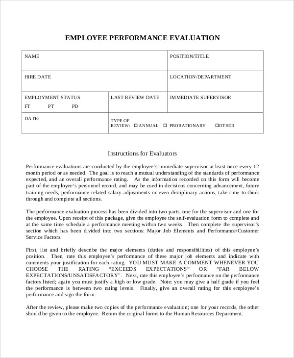 7+ Sample Work Performance Evaluations Sample Templates - work performance evaluation