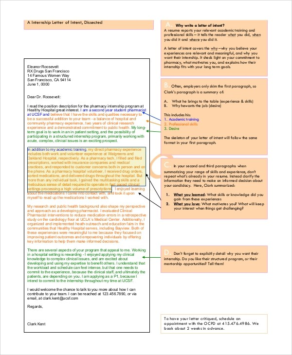 6+ Internship Letter of Intent Samples Sample Templates - intern letter of interest