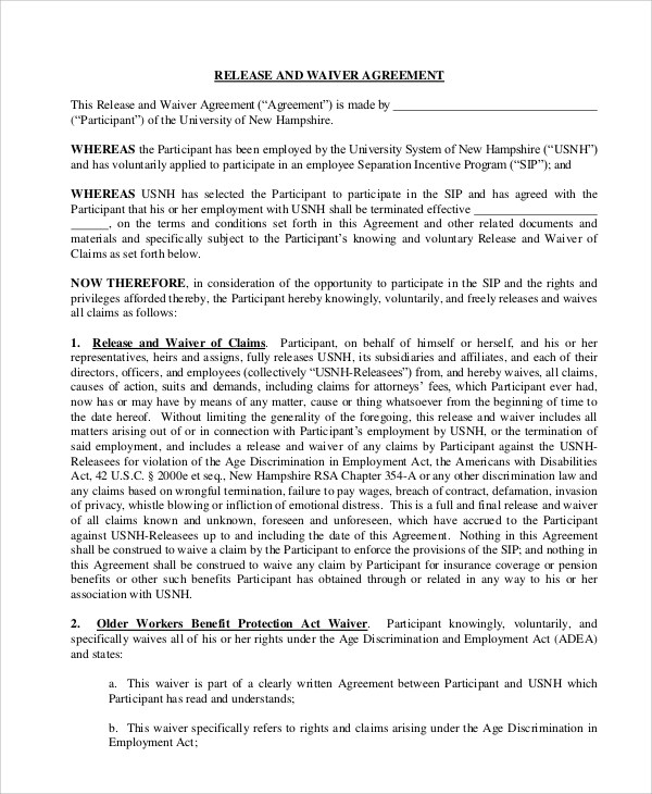 Free Printable Release And Waiver Of Liability Agreement - employment separation agreement