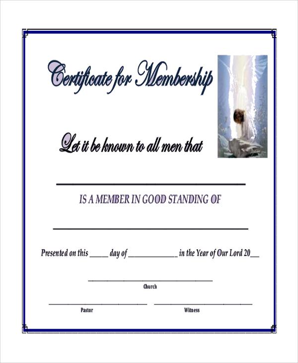 9+ Sample Blank Certificates Sample Templates - sample membership certificate