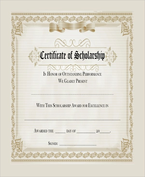 Sample Blank Certificate - 8+ Documents in PDF, Word - sample scholarship certificate