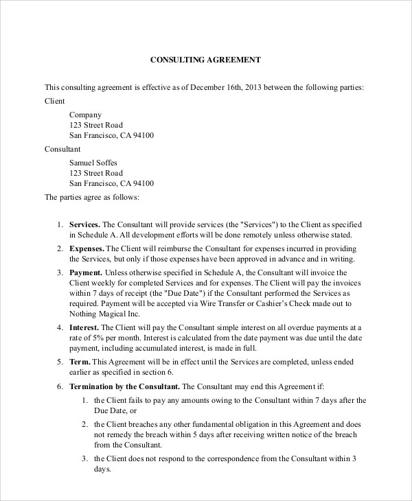 8+ Sample Business Consulting Agreements Sample Templates - business consultant agreement