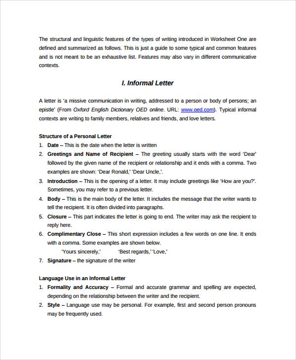 Sample Letter Format - 20+ Documents in PDF, Word - sample informal letter format