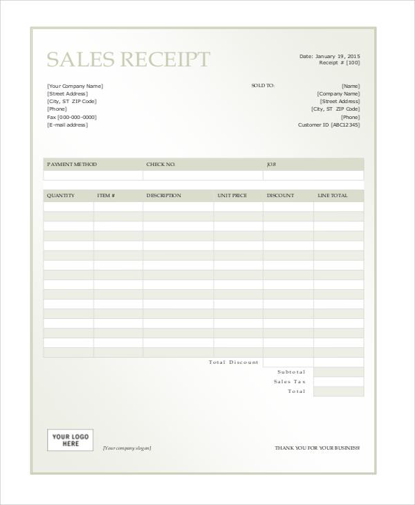 7+ Sales Receipt Samples Sample Templates - car sales receipt template