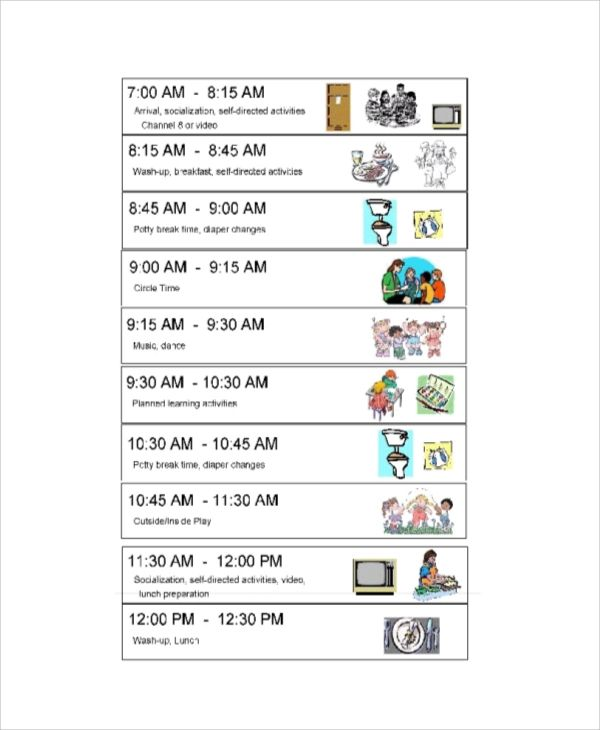 daily routine time table format