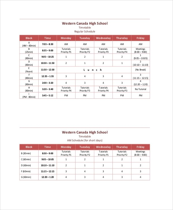 Sample Daily Timetable - 7+ Documents in PDF