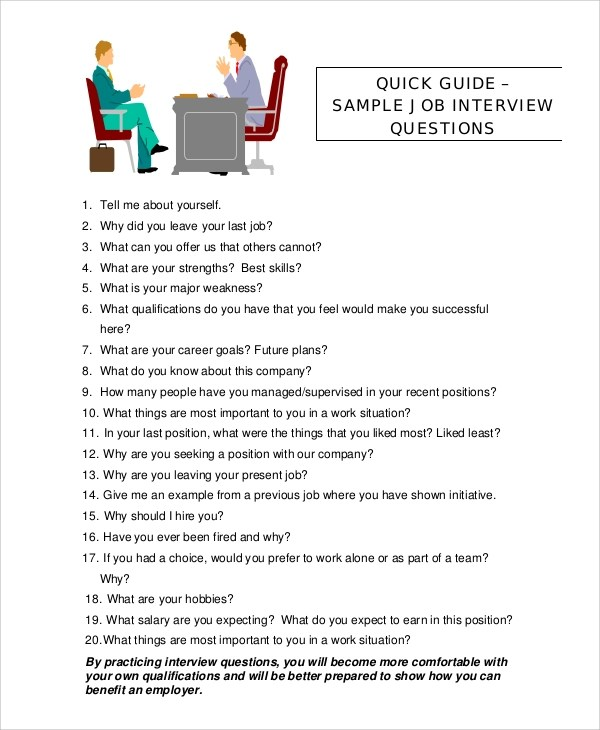 8+ Sample Interview Questions Sample Templates