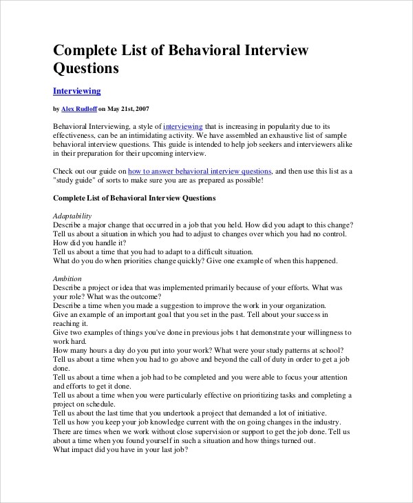 behavioral interviewing questions - Eczasolinf - sample behavioral interview questions and answers