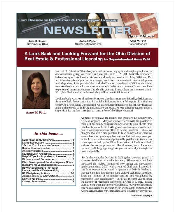 Sample Real Estate Newsletter - 4+ Documents in PDF