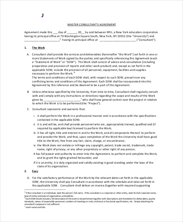 8+ Standard Consulting Agreement Samples Sample Templates - sample consulting agreement