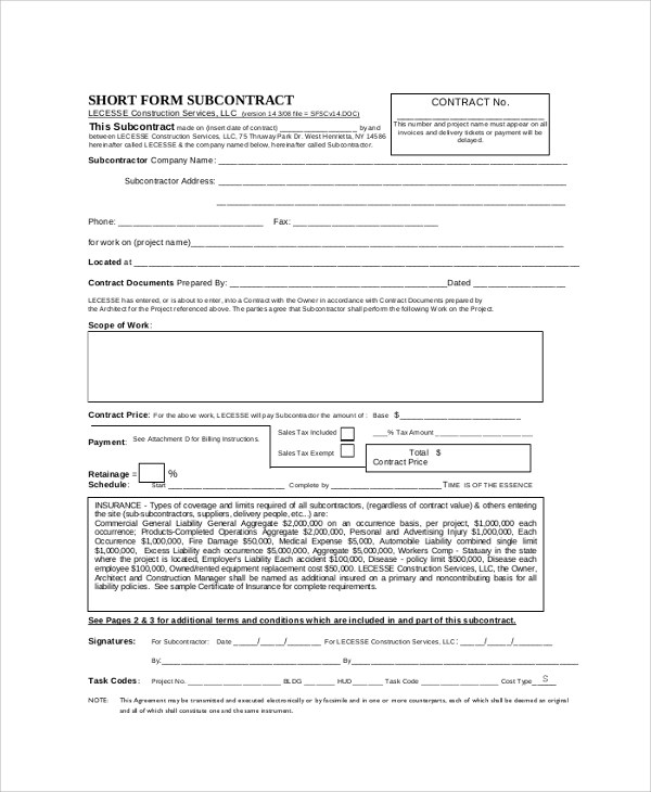 Sample Construction Agreement Form - 6+ Documents in PDF, Word - subcontractor agreement template