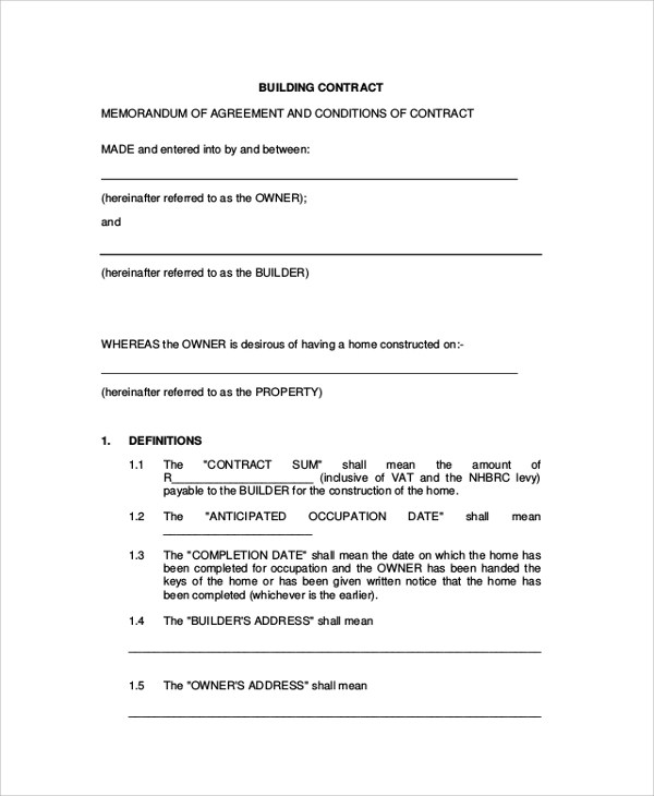 7+ Sample Construction Agreement Forms Sample Templates