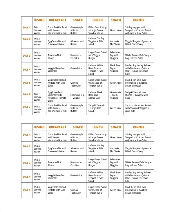 8+ Healthy Meal Plan Samples Sample Templates - weekly healthy meal plan