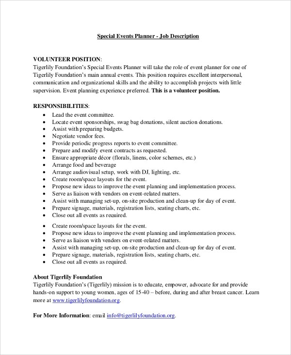 Job Description Team Leader Sample – Material Planner Job Description