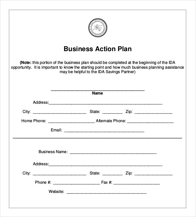 Sample Business Action Plan - 5+ Documents in PDF - action plan template for business