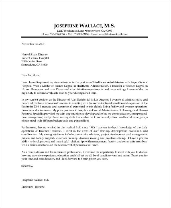 cover letter for hospital administration - Onwebioinnovate - health care cover letter