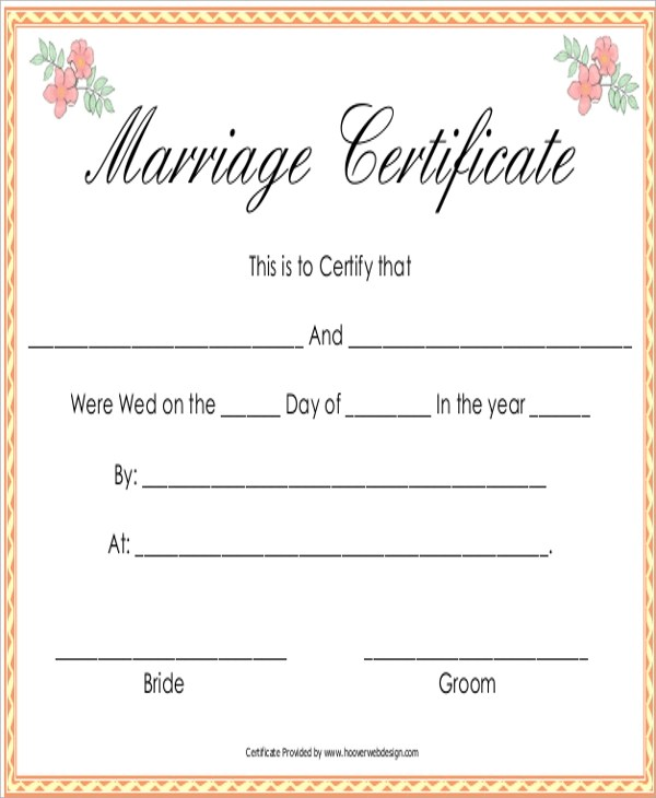 Sample Marriage Certificate - 16+ Documents in PDF, Word - marriage certificate
