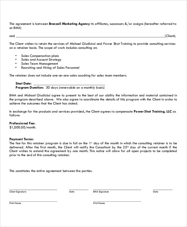 13+ Marketing Consulting Agreement Samples Sample Templates - consulting retainer agreement