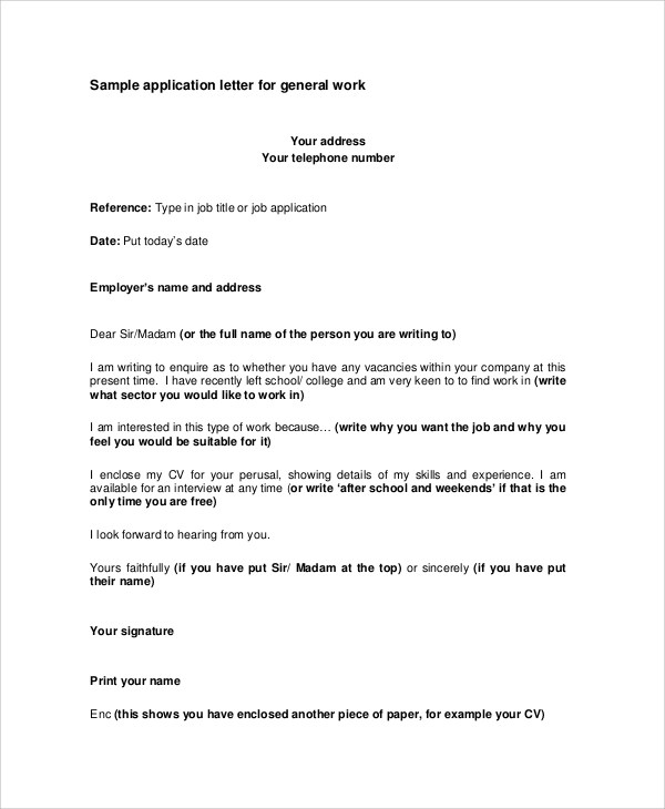 Sample Application Letter - 18+ Examples in PDF, Word - application sample