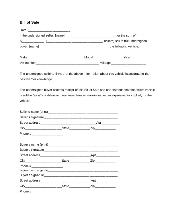 9+ Sample Generic Bill of Sales Sample Templates - generic bill of sale