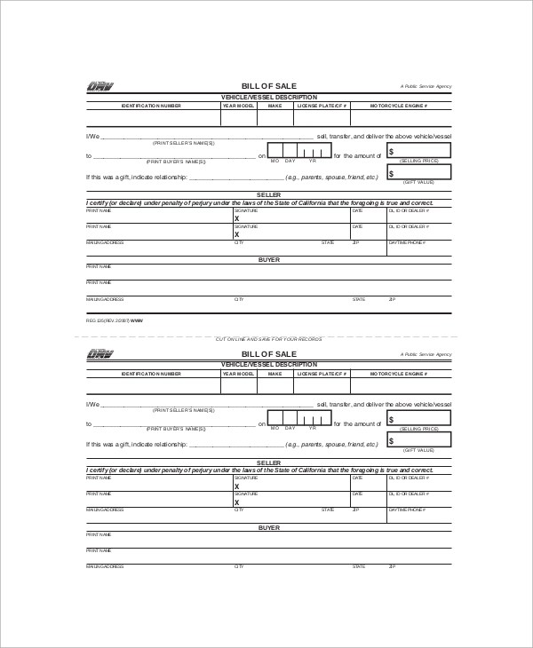 9+ Sample Bill of Sales Forms Sample Templates - bill of sale dmv