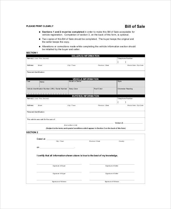 free copy of a bill of sale