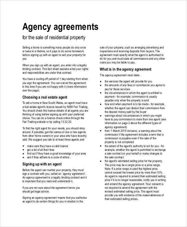Sample Agency Agreement Colbro