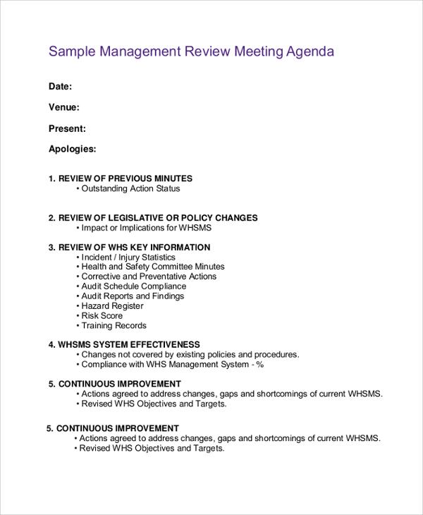 management meeting agenda - Intoanysearch - sample agenda