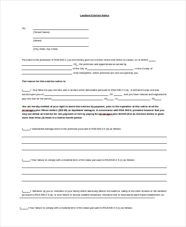 Sample Eviction Notice - 9+ Examples in Word, PDF - eviction notice template word