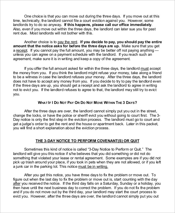 Three Day Eviction Notice Form Gallery Of Tenant Eviction Letter