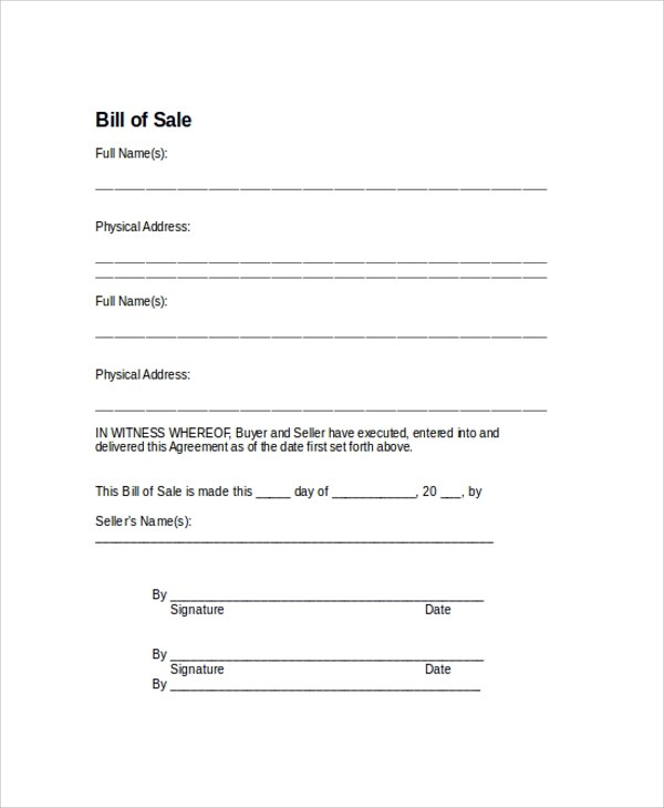 9+ Sample Bill of Sale Forms Sample Templates