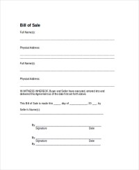 9+ Sample Bill of Sale Forms | Sample Templates