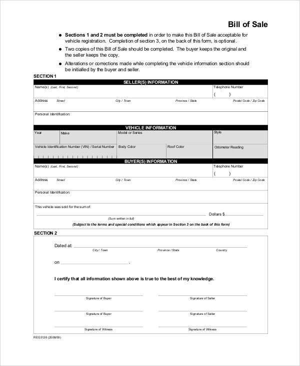 Sample Bill of Sale Form - 9+ Examples in PDF, WORD - equipment bill of sale template