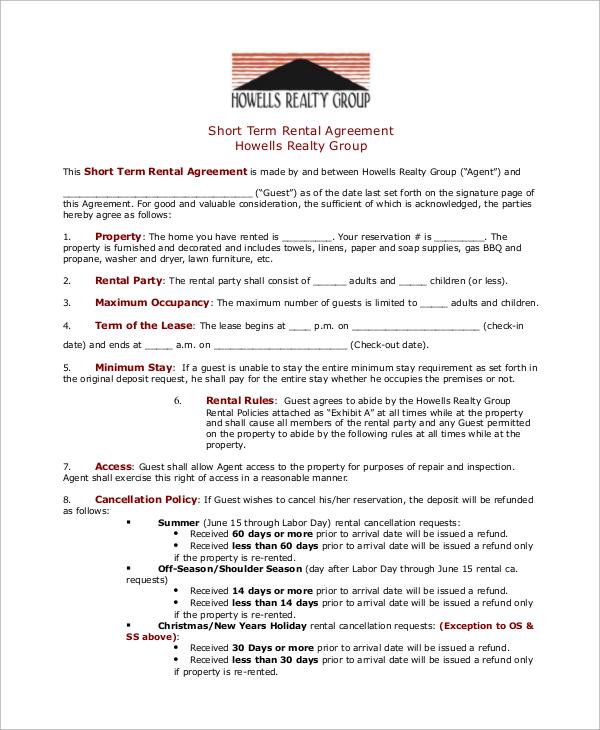 8+ Rental Agreement Samples Sample Templates - short term rental agreement