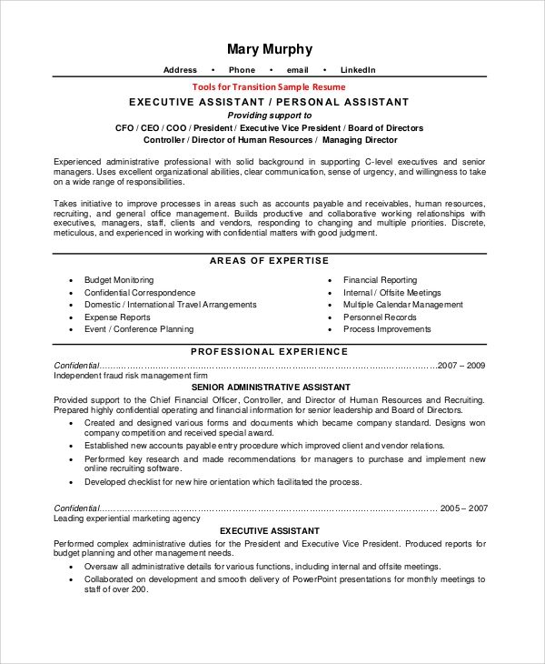 areas of expertise sample resume