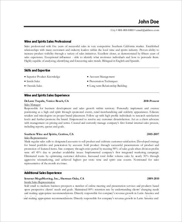 8+ Professional Resume Samples / CV Sample Templates