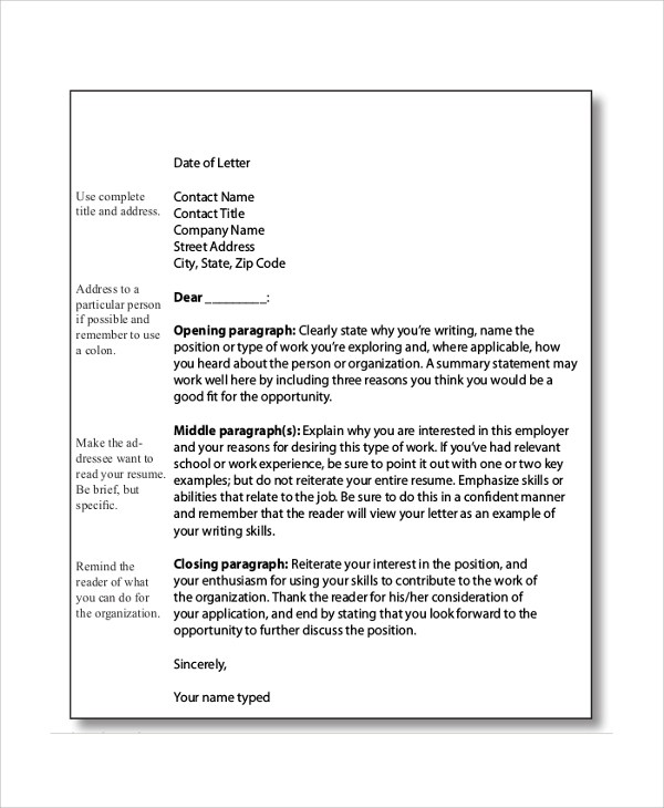 Sample Cover Letter Format - 9+ Examples in PDF, Word