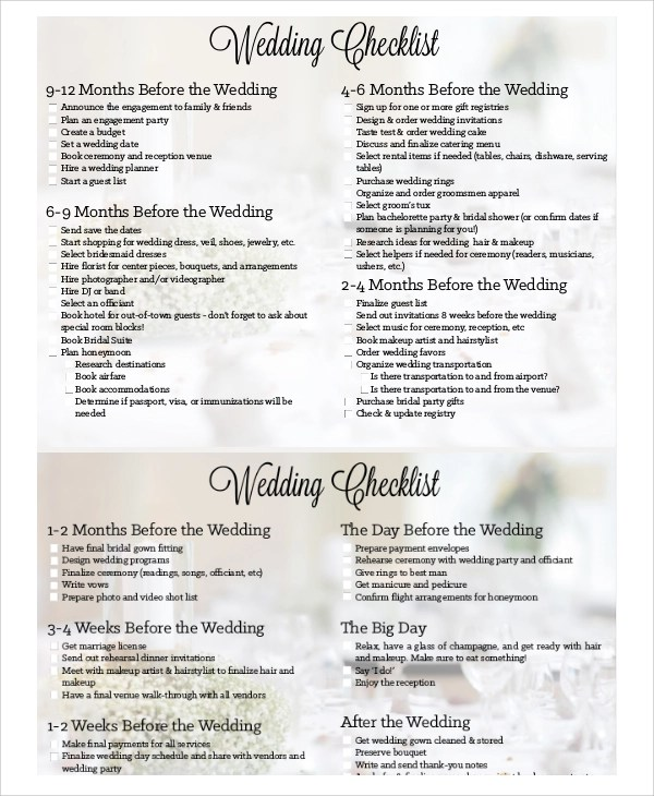 7+ Wedding Planning Checklist Samples Sample Templates