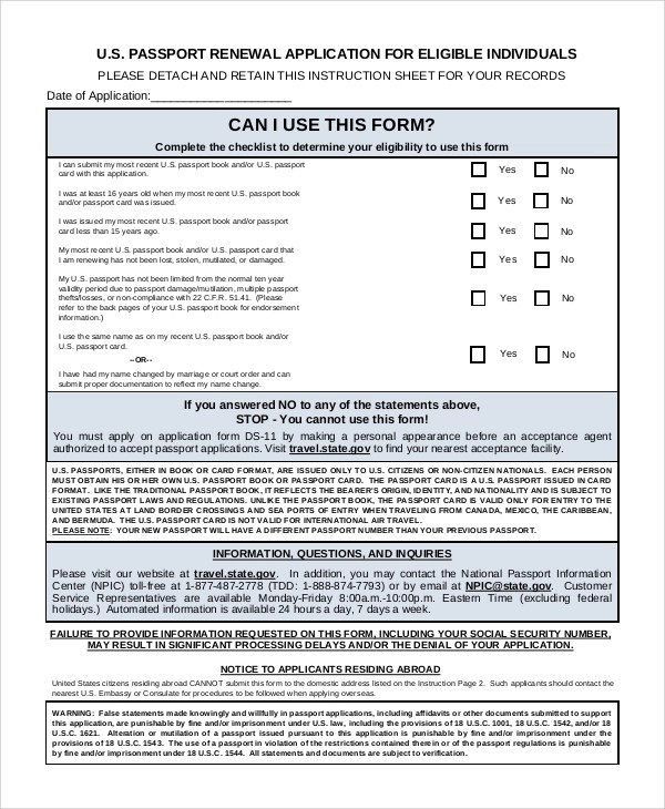 7+ Sample Passport Renewal Forms Sample Templates - lost passport form