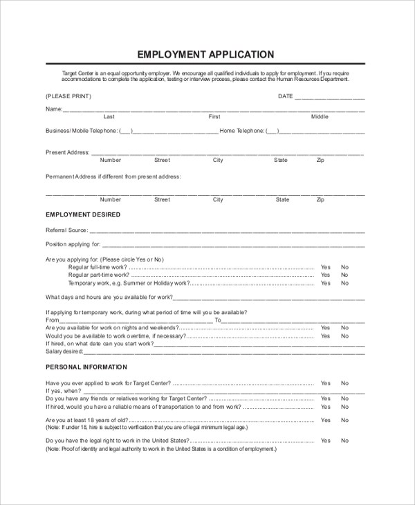 7+ Sample Target Job Applications Sample Templates - sample target job application