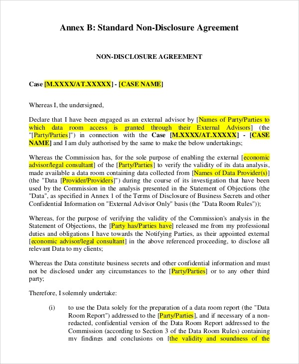 Third Party Non Disclosure Agreement Images - Agreement Letter Format