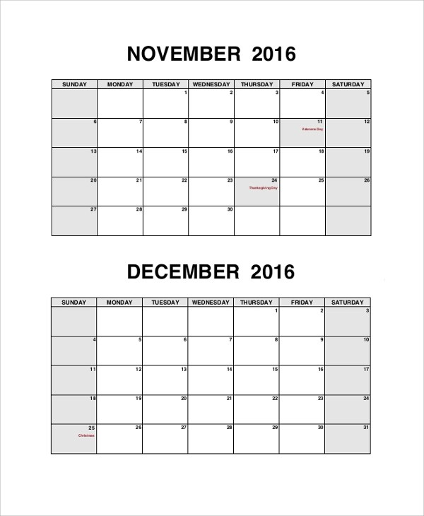 8+ Sample Printable Calendars Sample Templates