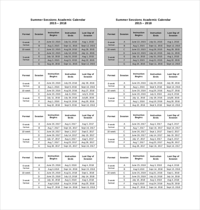 8+ Sample Printable Calendars Sample Templates - sample academic calendar