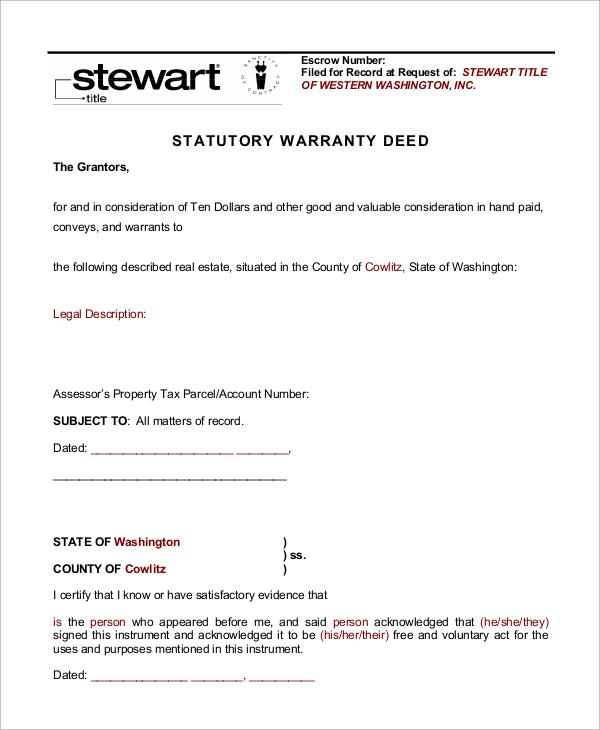sample warranty deed form – Warranty Deed Form Template