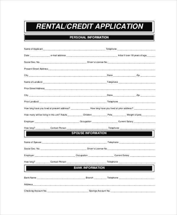 8+ Sample Rental Applications Sample Templates - rental application pdf